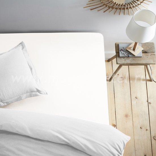 Белая простынь на резинке 160х200 в интернет-магазине Моя постель