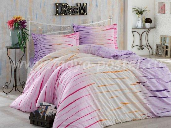Комплект полутороспального постельного белья из поплина «BATIK KIRIK», лиловый, полосы в интернет-магазине Моя постель