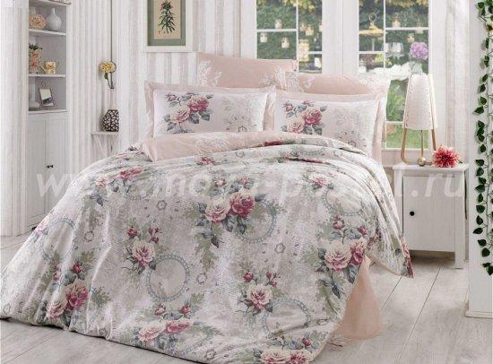 Светло-розовое постельное белье из поплина «CLEMENTINA» с розами, двуспальное в интернет-магазине Моя постель