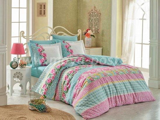 Постельное белье «SCARLET» бирюзовое, поплин, полутороспальное в интернет-магазине Моя постель