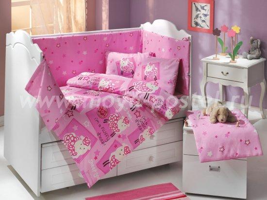Детское постельное белье розового цвета с покрывалом «LITTLE SHEEP», поплин в интернет-магазине Моя постель