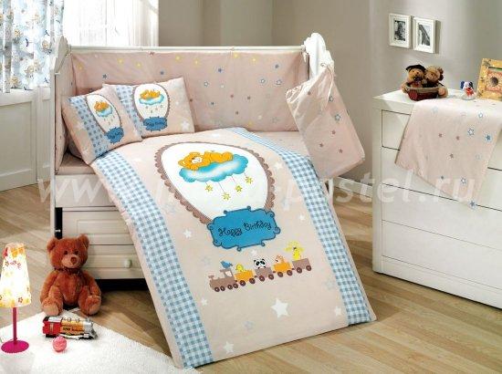 Детское постельное белье «BAMBAM» голубого цвета, из поплина с покрывалом в интернет-магазине Моя постель