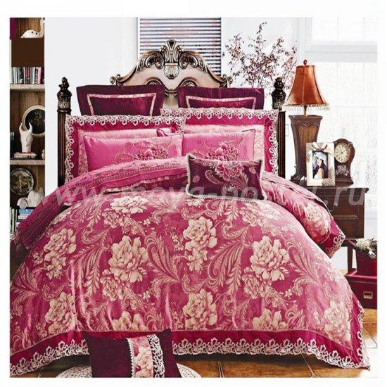Семейный комплект постельного белья жаккард с вышивкой H022 в интернет-магазине Моя постель