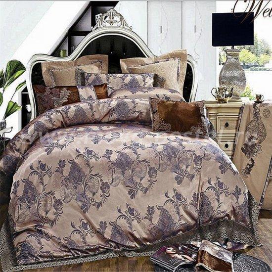 Двуспальный комплект постельного белья жаккард с вышивкой H031 в интернет-магазине Моя постель