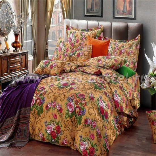 Двуспальный комплект постельного белья делюкс сатин L91 (50*70) в интернет-магазине Моя постель