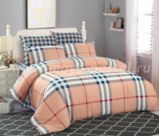 Евро комплект постельного белья в клетку C254, сатин (50*70) в интернет-магазине Моя постель