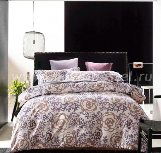 Евро комплект бежевого постельного белья сатин C261 (50*70) в интернет-магазине Моя постель