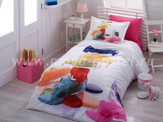 Постельное белье с 3D-рисунком «RAINBOW», поплин, полутороспальное в интернет-магазине Моя постель