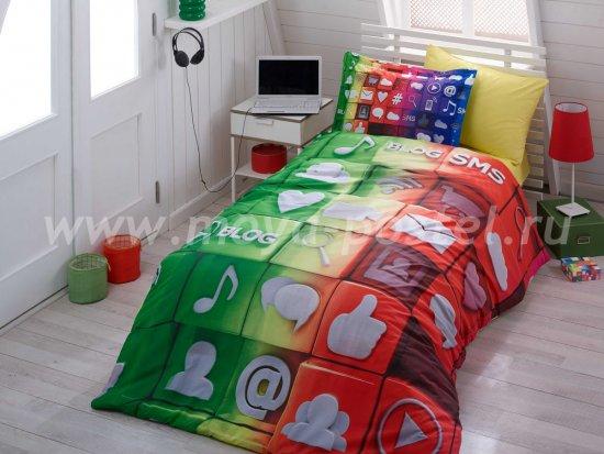 Постельное белье «TWEET» из поплина с 3D-принтом, полутороспальное в интернет-магазине Моя постель
