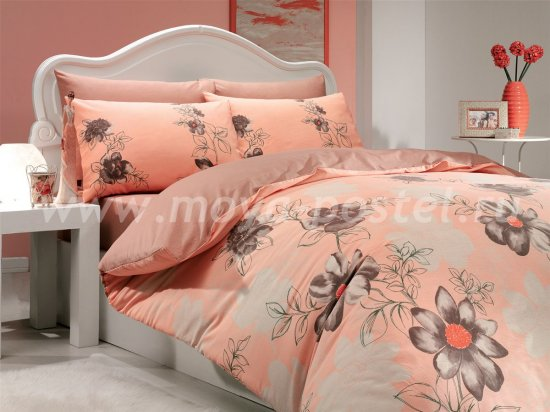 Персиковое постельное белье «SOFIA» из ранфорса, полутороспальное в интернет-магазине Моя постель