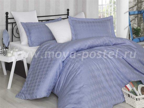 Постельное белье «BULUT» лилово-белого цвета, сатин-жаккард, евро в интернет-магазине Моя постель