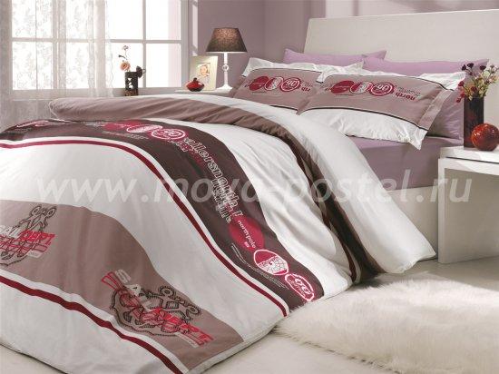 Постельное белье из поплина «ROTA», двуспальное, бордового цвета в интернет-магазине Моя постель