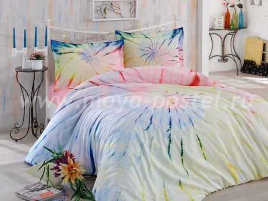 Постельное белье из поплина «BATIK HELEZON» с разводами, розовое, евро в интернет-магазине Моя постель