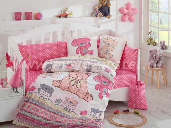 Постельное белье из поплина с покрывалом «TOMBIK» детское, розовое в интернет-магазине Моя постель
