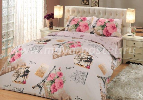 Двуспальное постельное белье «PARIS» (Париж) розовое, ранфорс в интернет-магазине Моя постель