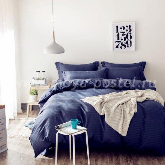 Темно-синее постельное белье из страйп-сатина с простыней на резинке CFR003, двуспальное (160*200*30) в интернет-магазине Моя постель