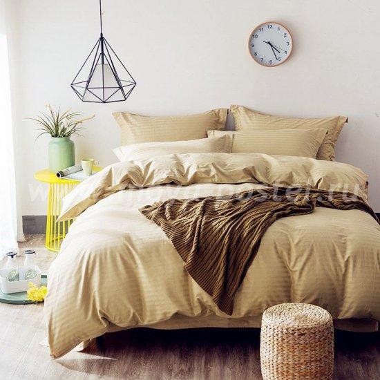 Двуспальное постельное белье из бежевого страйп-сатина на резинке CFR004 (180*200*30) в интернет-магазине Моя постель
