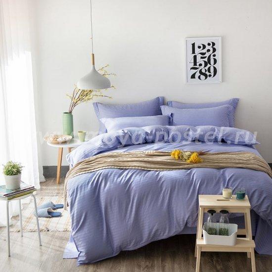 Двуспальное постельное белье с простыней на резинке CFR005, лиловое, страйп-сатин (180*200*30) в интернет-магазине Моя постель