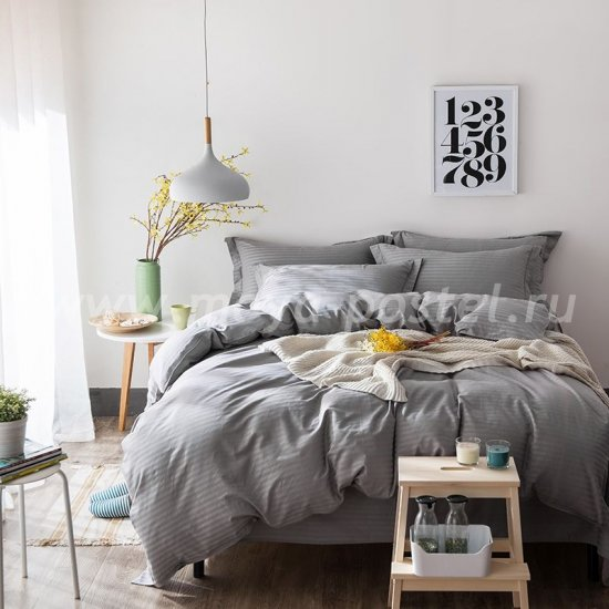 Двуспальное серое постельное белье на резинке CFR006, страйп-сатин (160*200*30) в интернет-магазине Моя постель
