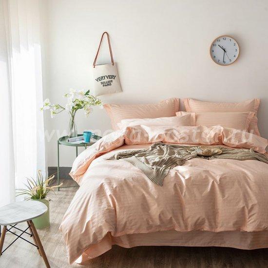 Евро комплект персикового постельного белья с простыней на резинке CFR007, страйп-сатин (160*200*30) в интернет-магазине Моя постель