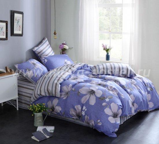 Полутороспальный комплект синего постельного белья из сатина с цветами C265 (50*70) в интернет-магазине Моя постель