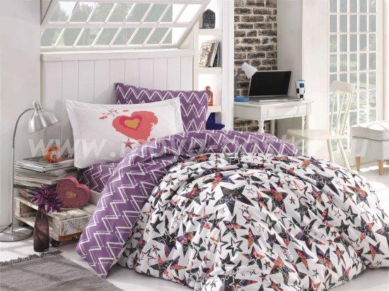 Лиловое постельное белье из поплина «CARMEN» с принтом звезд, полутороспальное в интернет-магазине Моя постель