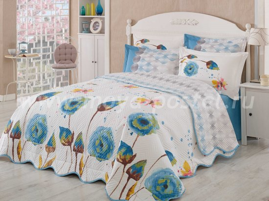 Постельное белье «VERONIKA» с голубыми цветами, поплин, полутороспальное в интернет-магазине Моя постель