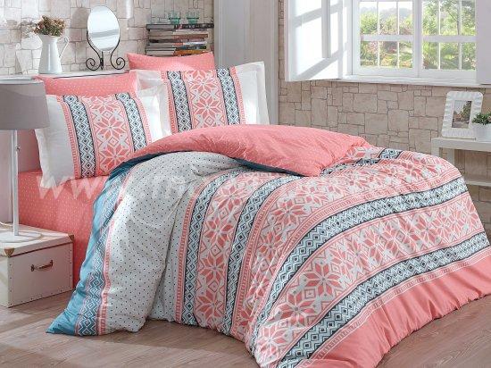 Постельное белье «CARLA» персиковое с орнаментом, поплин, полуторспальное в интернет-магазине Моя постель