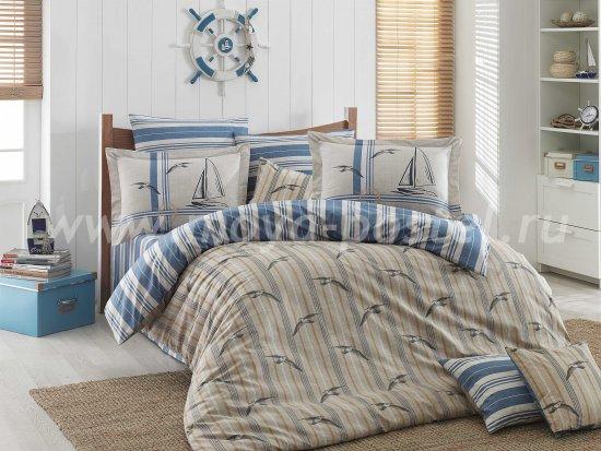 Постельное белье из поплина «MARINELLA» голубое с полосами, полутороспальное в интернет-магазине Моя постель