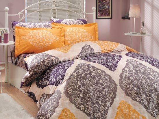 Фиолетово-желтое постельное белье из поплина «AMANDA» с орнаментом в виде ромбов, полутороспальное в интернет-магазине Моя постель