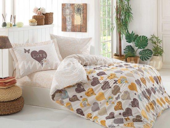 Постельное белье «VERA» из поплина, полуторное, желтого цвета в интернет-магазине Моя постель