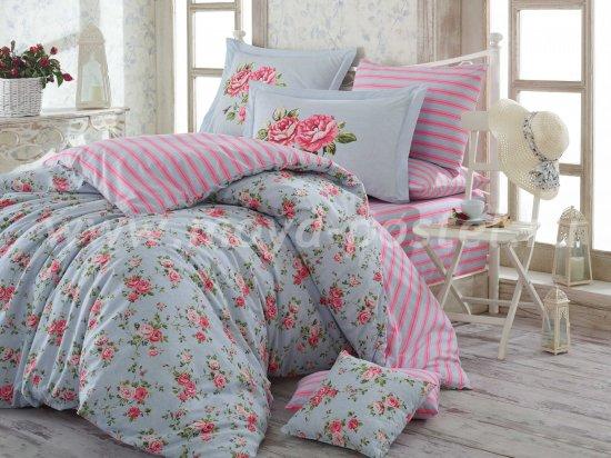 Постельное белье из поплина «FLORA» голубое с цветочным принтом, полутороспальное в интернет-магазине Моя постель