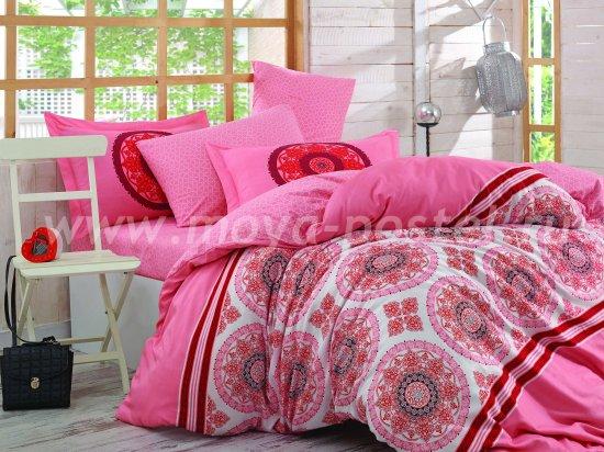 Розовое постельное белье «SILVANA», поплин, полуторное в интернет-магазине Моя постель