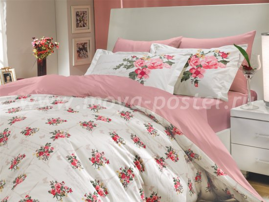 Розовое постельное белье из поплина «PARIS SPRING», полутороспальное в интернет-магазине Моя постель