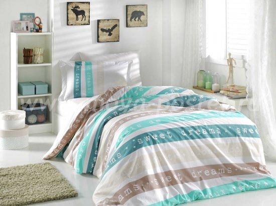 Постельное белье «SWEET DREAMS» кремовое с полосками, поплин, полутороспальное в интернет-магазине Моя постель