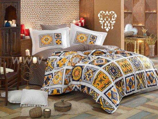 Жёлтое постельное белье «MOZAIQUE» из поплина, евро размер в интернет-магазине Моя постель