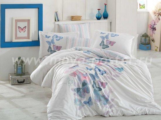 Постельное белье евро размера «SUENO», поплин, белое с зеленым рисунком в интернет-магазине Моя постель