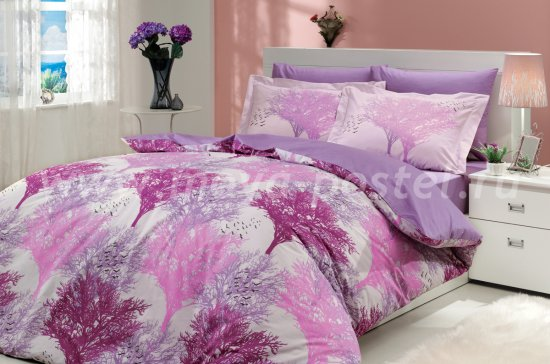 Постельное белье из поплина «JUILLET» цвета фуксия с силуэтами деревьев, евро размер в интернет-магазине Моя постель