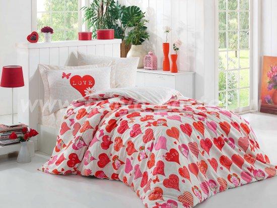 Постельное белье «VERA» из поплина, полуторное, красного цвета в интернет-магазине Моя постель