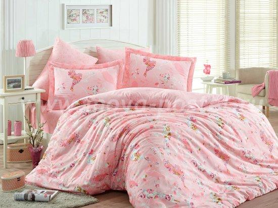 Постельное белье «MYSTERY» розового цвета, сатин, евро в интернет-магазине Моя постель