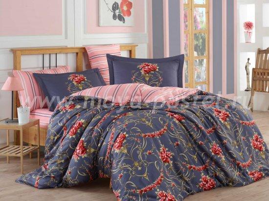 Постельное белье «ORNELLA» темно-синее, сатин, полутороспальное в интернет-магазине Моя постель