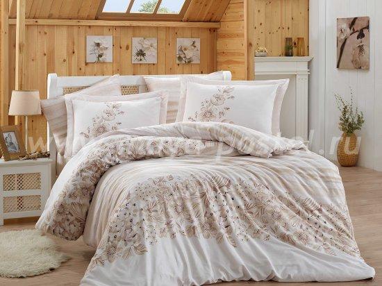 Бежевое постельное белье из сатина «SERENA», евро в интернет-магазине Моя постель