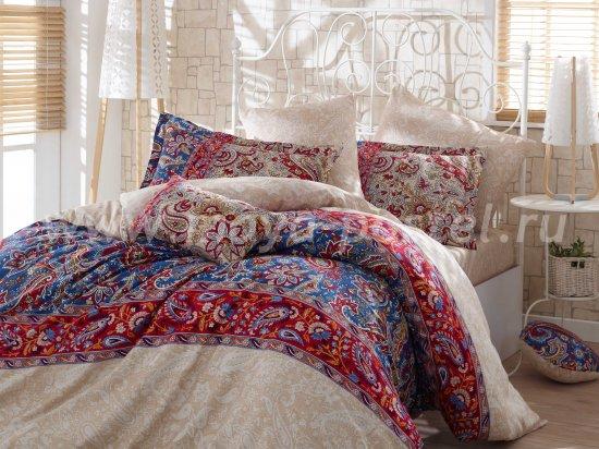 Кремовое постельное белье «CATERINA» с красными орнаментальными полосами, сатин, полутороспальное в интернет-магазине Моя постель