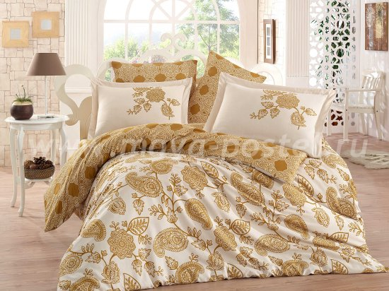 Постельное белье евро размера «ANTONIA» из сатина, золото в интернет-магазине Моя постель