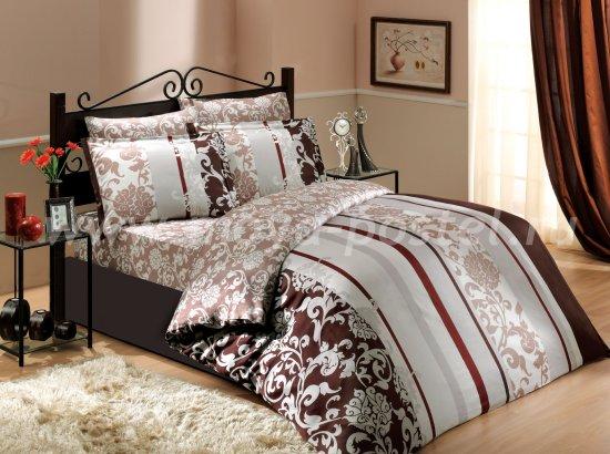 Евро постельное белье «ORIENTAL», сатин, коричневое в интернет-магазине Моя постель