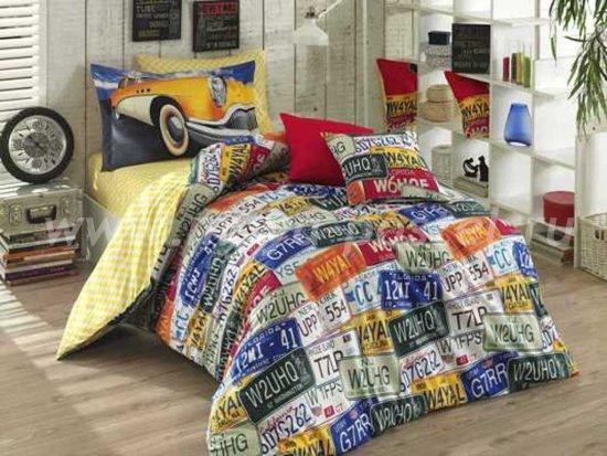 Желтое полутороспальное постельное белье из поплина «CLASSICA» с автомобильным принтом в интернет-магазине Моя постель