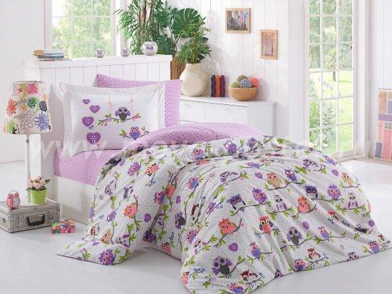 Лиловое постельное белье с совами в интернет-магазине Моя постель