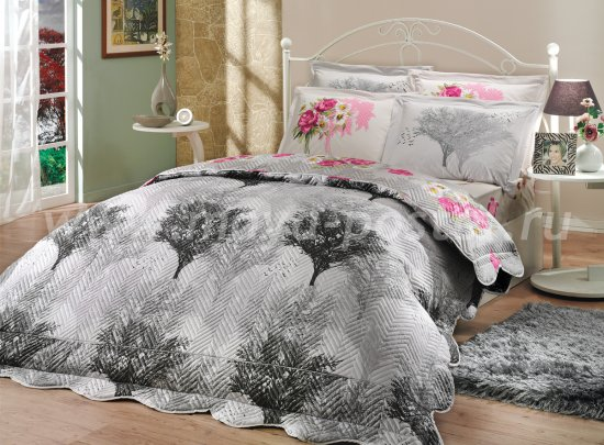 Серое постельное белье с двусторонним стеганым покрывалом «JUILLET-CALVINA», двуспальное в интернет-магазине Моя постель