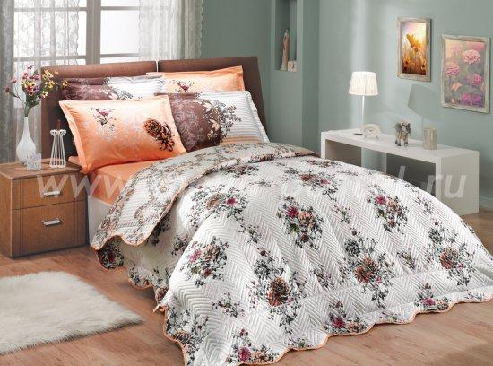 Коричнево-персиковое постельное белье с двусторонним стеганым покрывалом «DELFINA-CARMEN», двуспальное в интернет-магазине Моя постель