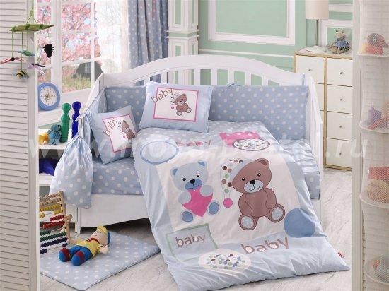 Голубое постельное белье «PONPON» для детей, поплин в интернет-магазине Моя постель